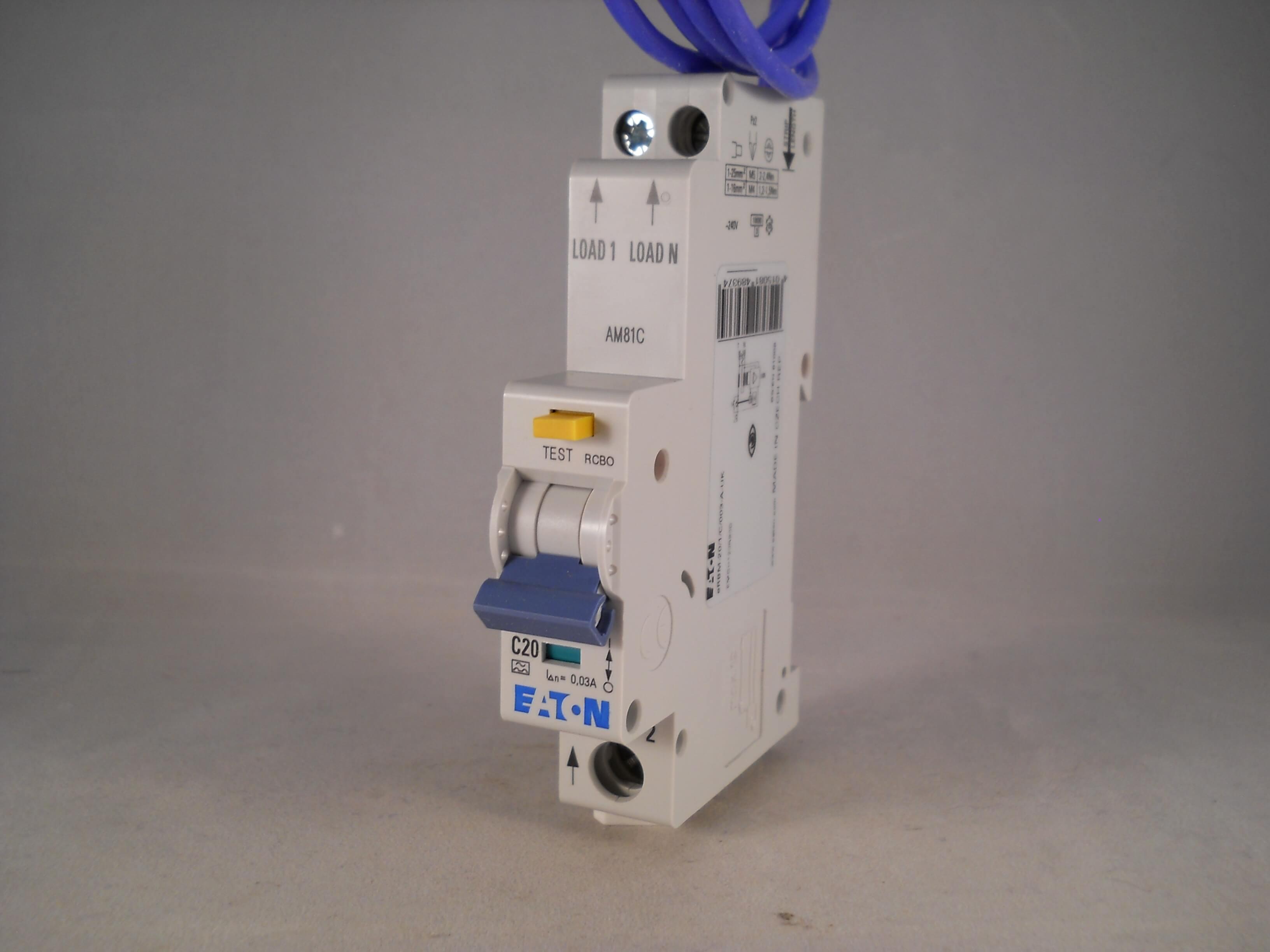 Eaton RCBO 20 Amp 30mA Type C 20A Memshield 3 C20 Compact ...