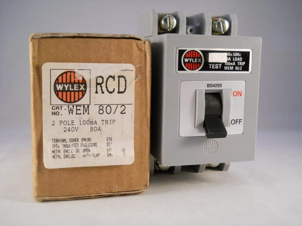 Wylex RCD 80 Amp 100mA Double Pole 80A RCD Trip WEM 80/2 WEM80/2 BS4293 NEW  - Willrose Electrical - Discontinued & Obsolete Circuit Breakers