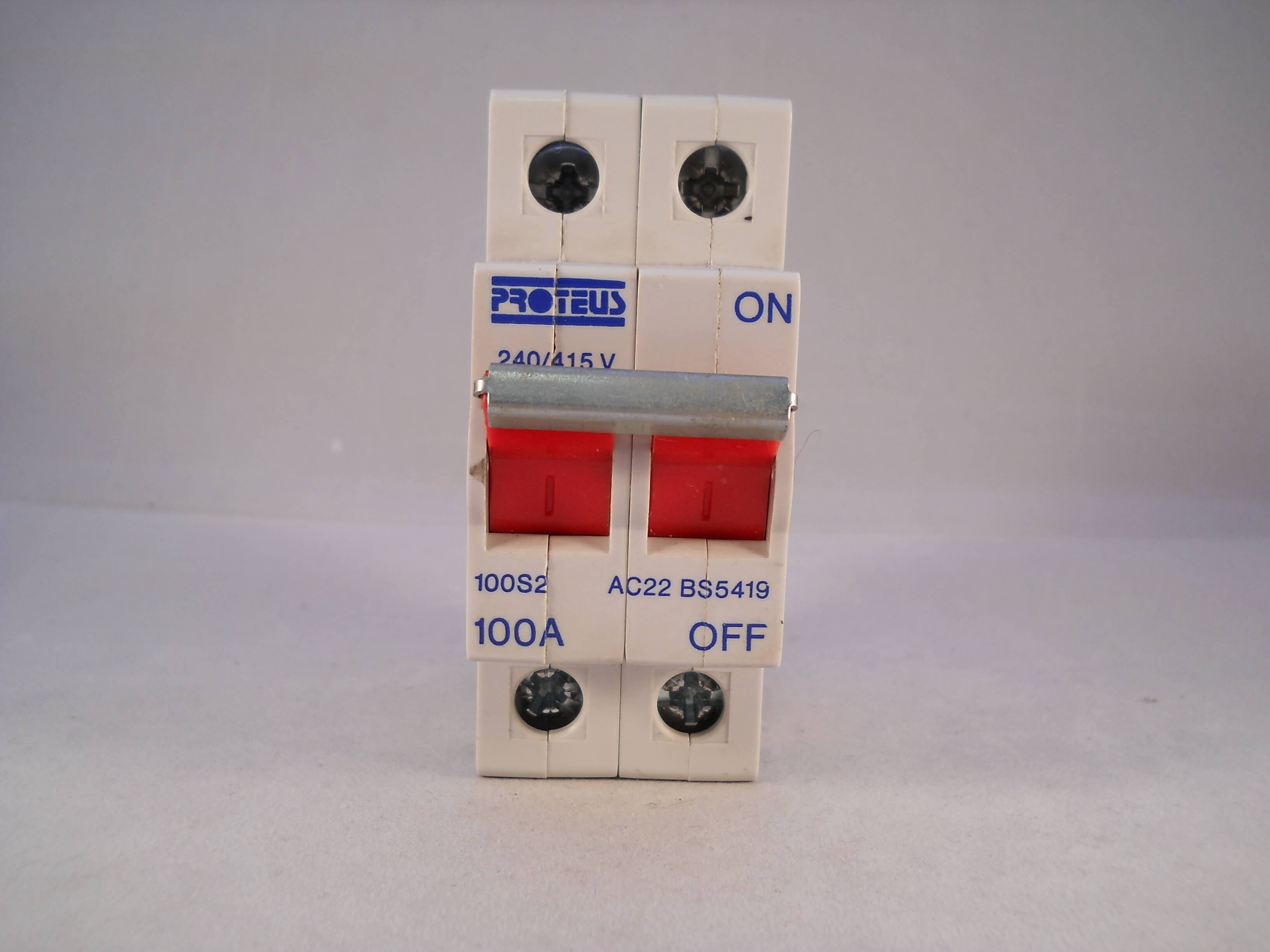 Proteus 100 Amp Main Switch Disconnector 100a Double Pole Isolator 100S2 for sale online