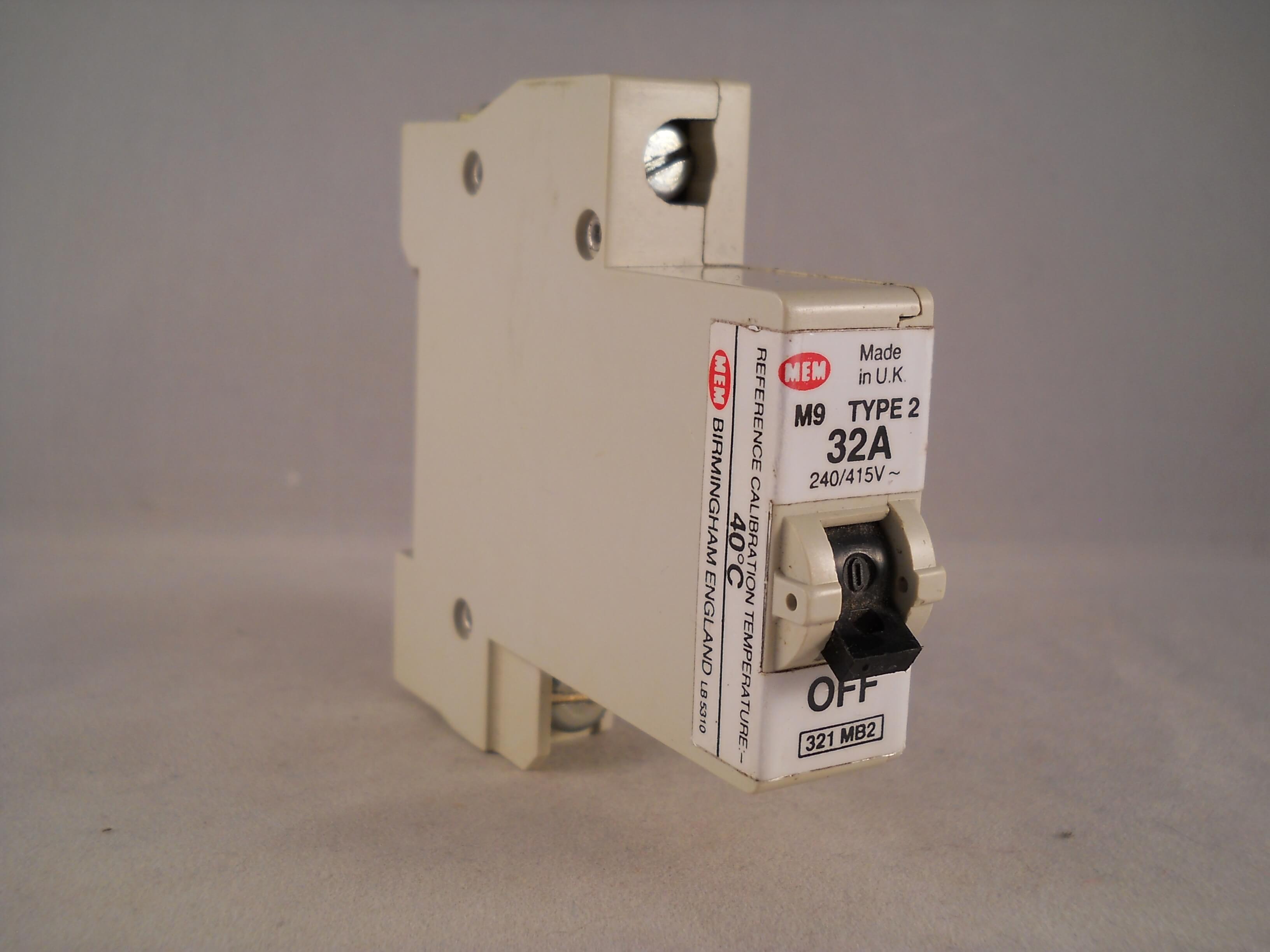 Mem Mcb Type 2 32 Amp M9 Single Pole 32a Memshield Circuit