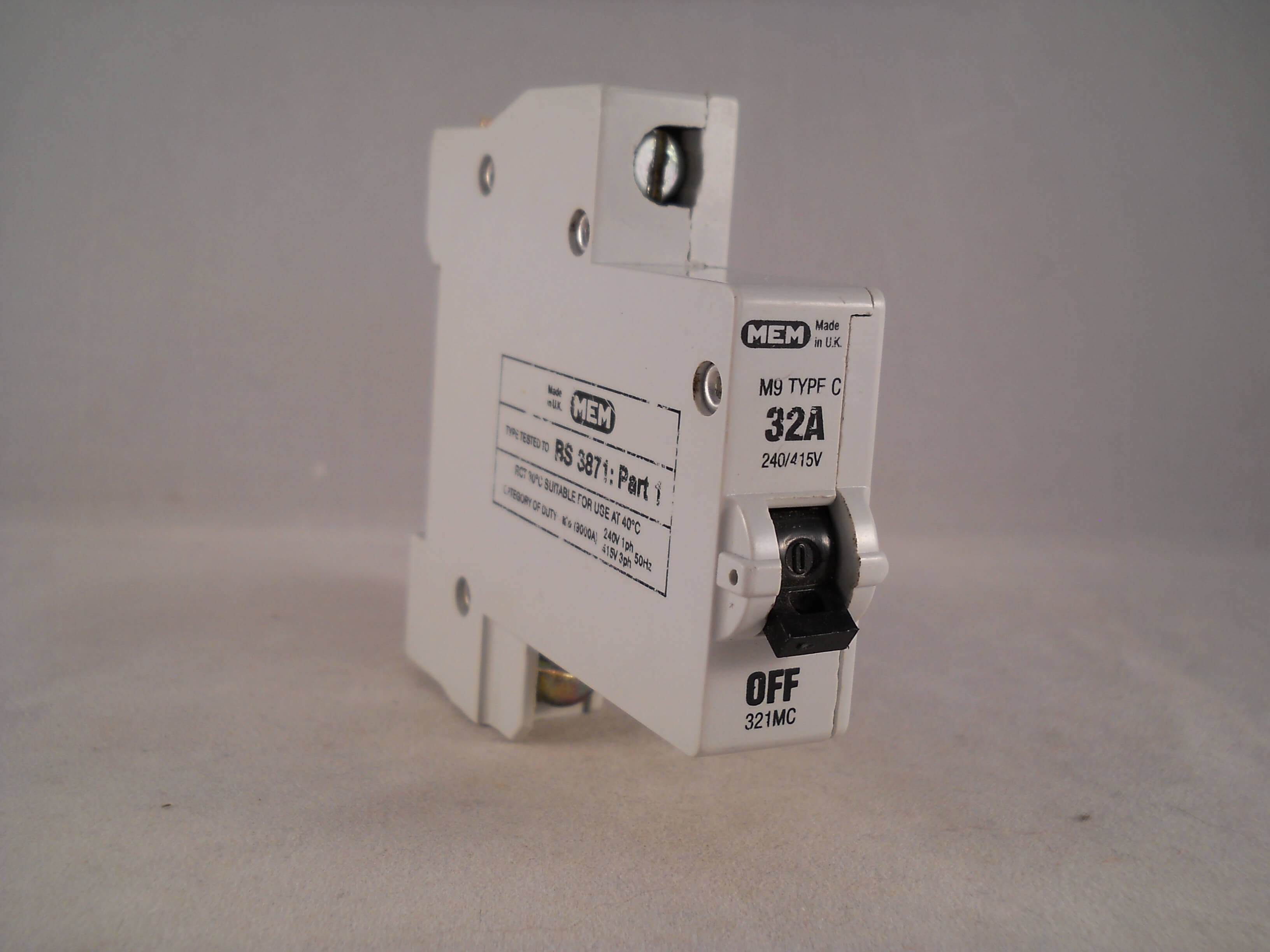 Mem Mcb Type C 32 Amp M9 Single Pole 32a Memshield Circuit