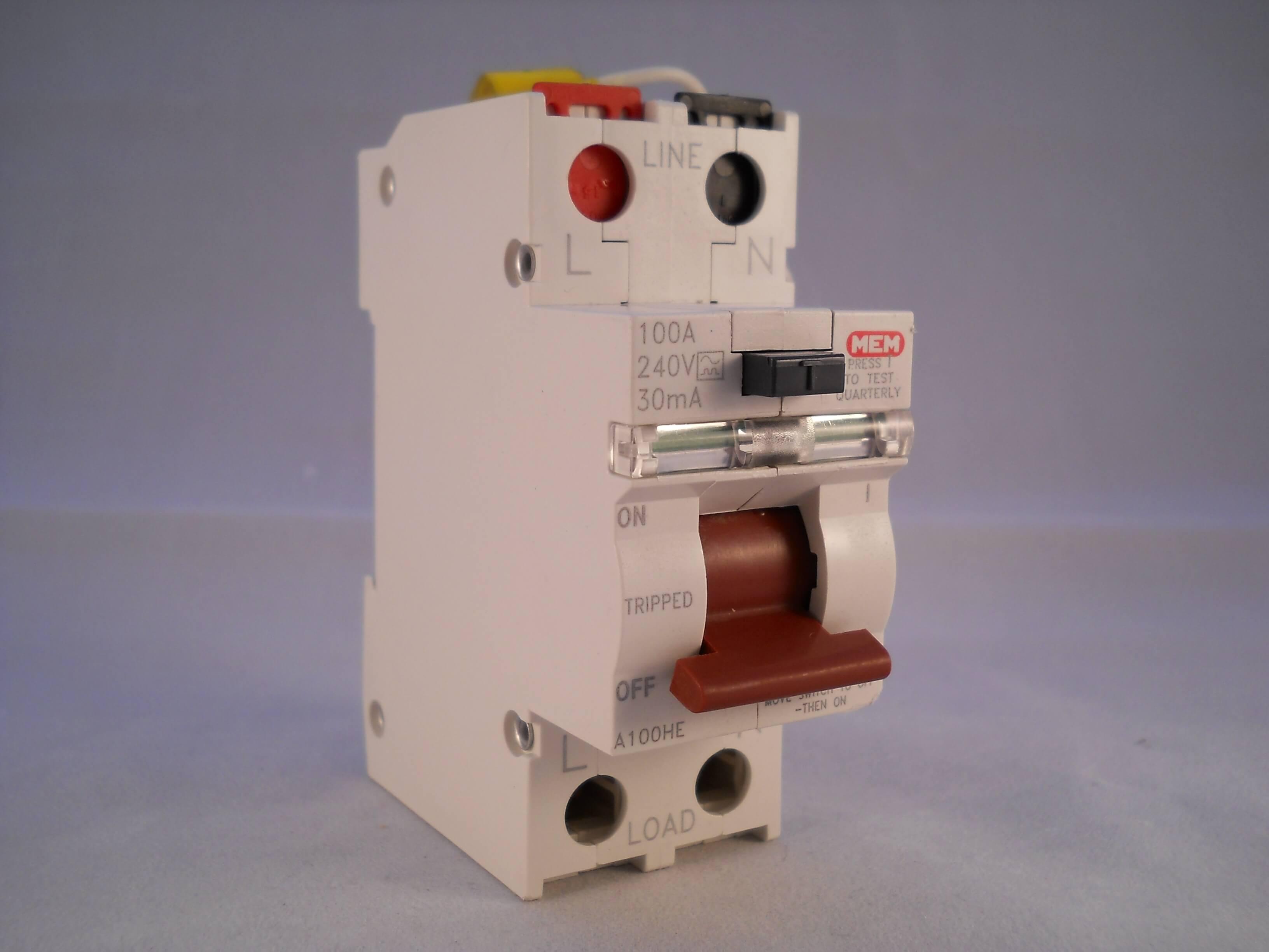 MEM Eaton 100 Amp 2 POLI a100he//ad100he 100a 30ma RCD.