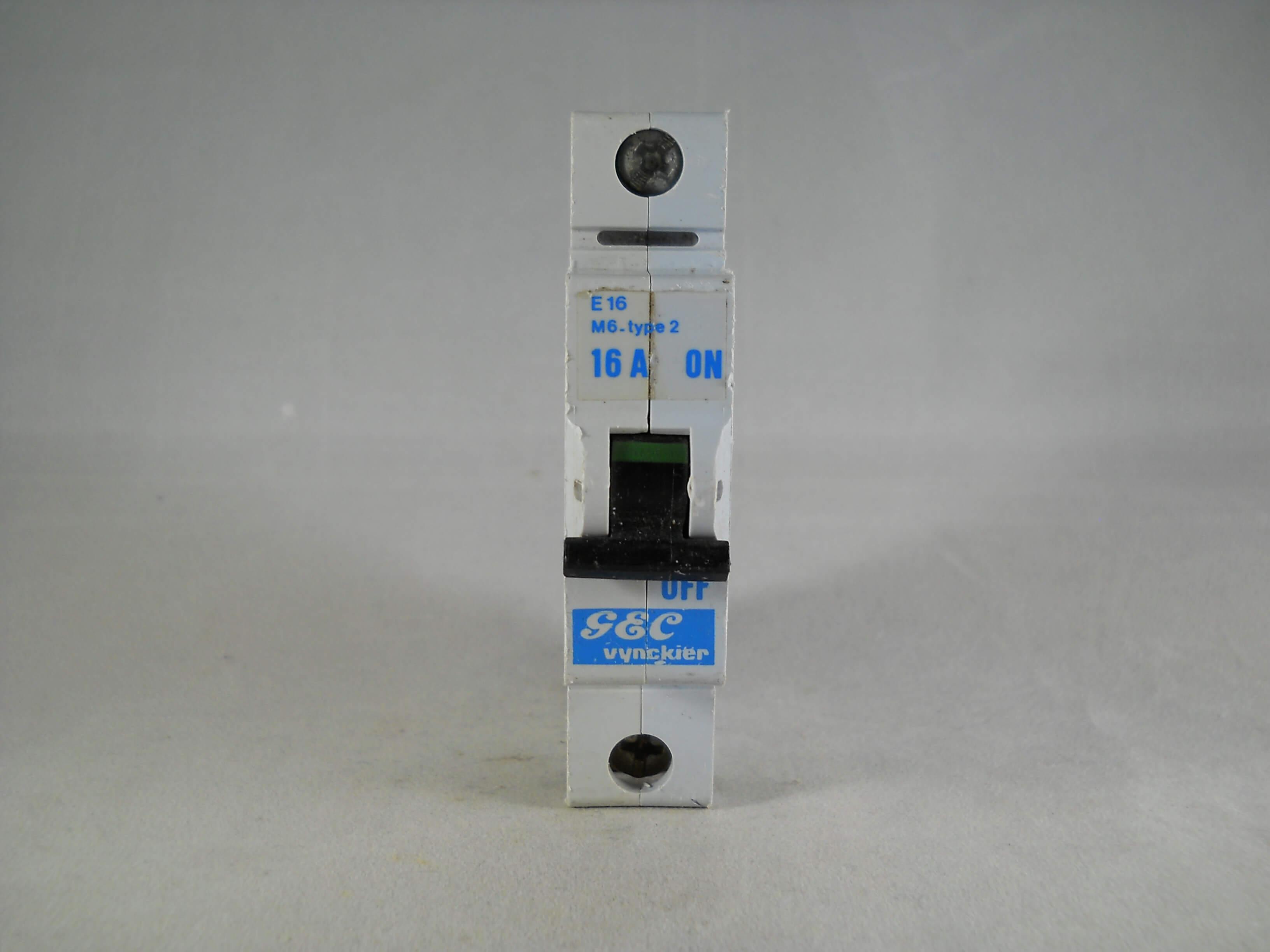 GEC VYNCKIER MCB Single Pole E Series M6 40A 32A 16A  6A Type 2