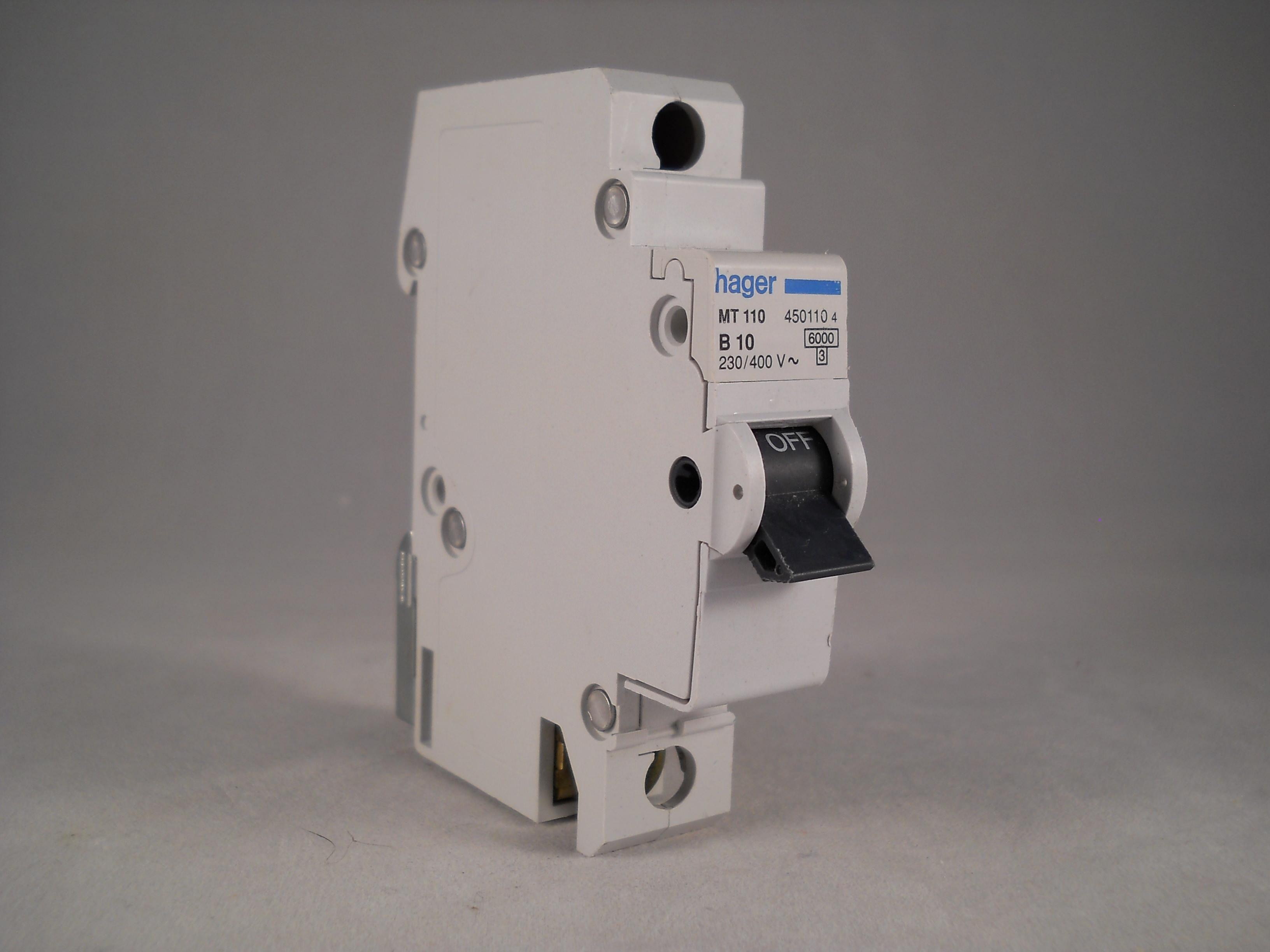 Hager MT110 B10 10 A MCB