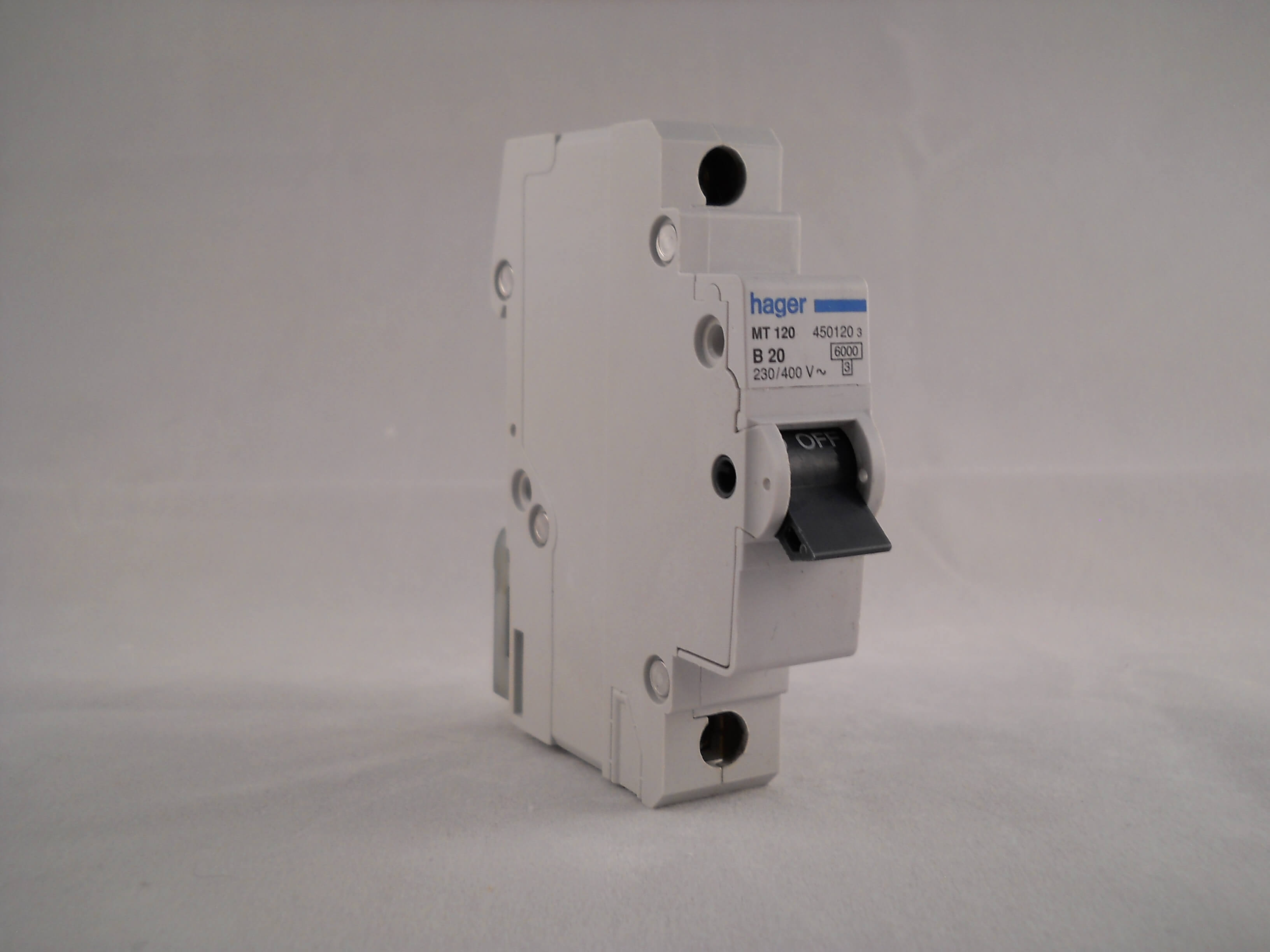 Hager MT120 B20 450120 3 Type B Single Pole MCB Circuit Breaker 230//400V
