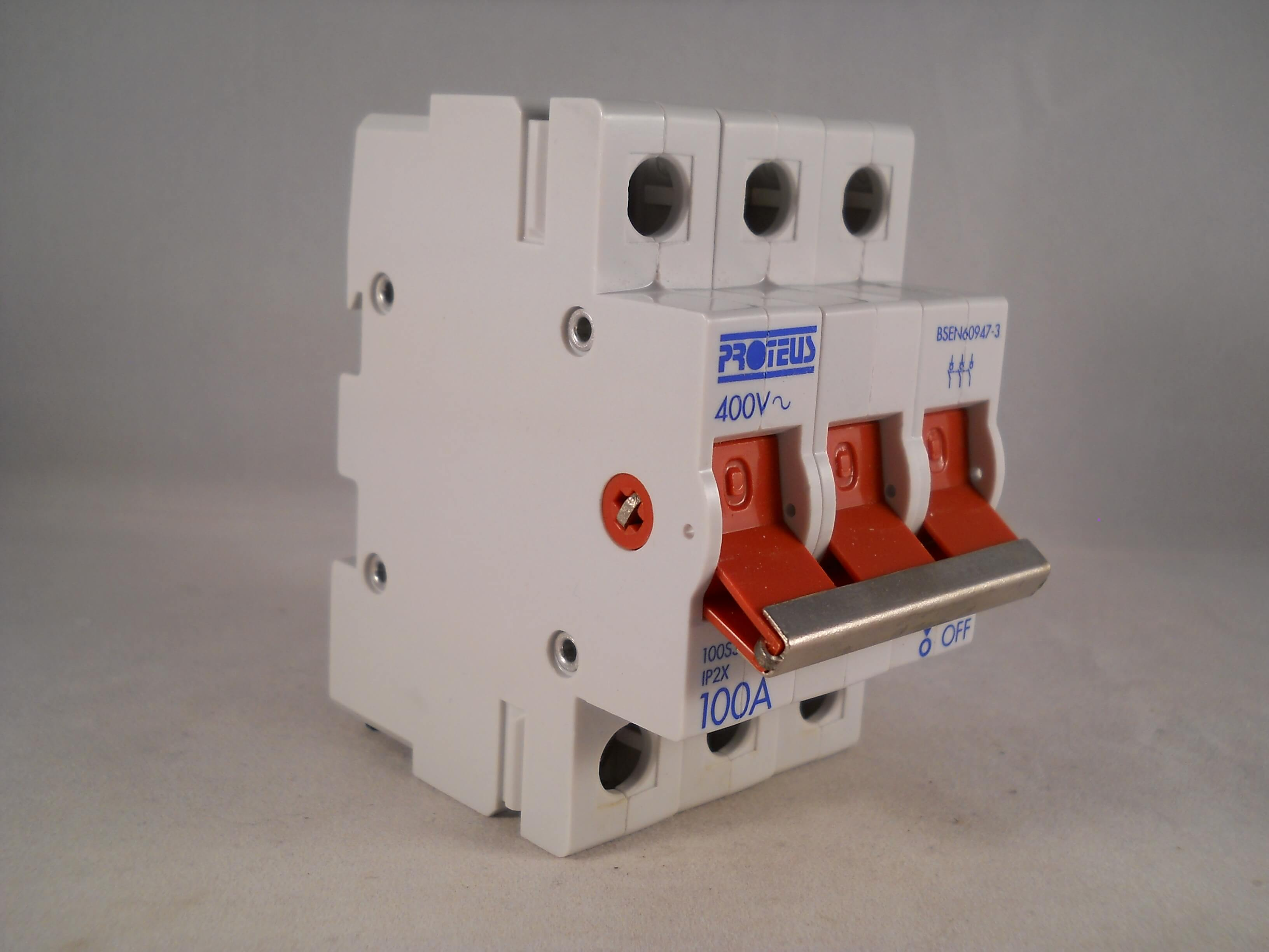 Proteus 100 Amp Main Switch Disconnector 100A Triple Pole Isolator ...