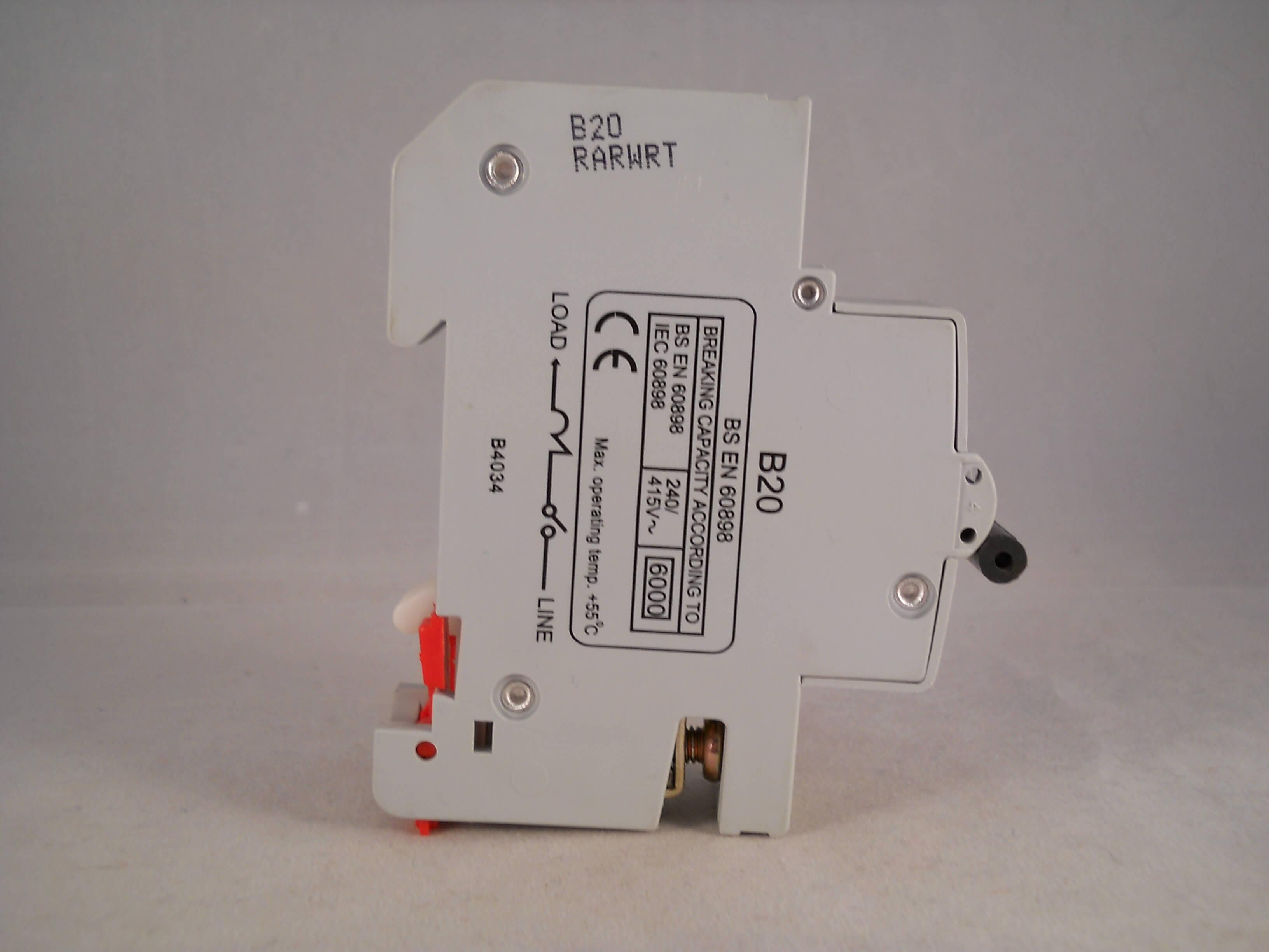 Wylex NSB MCB 20 Amp Single Pole Circuit Breaker Type B 20A NSB20 ...