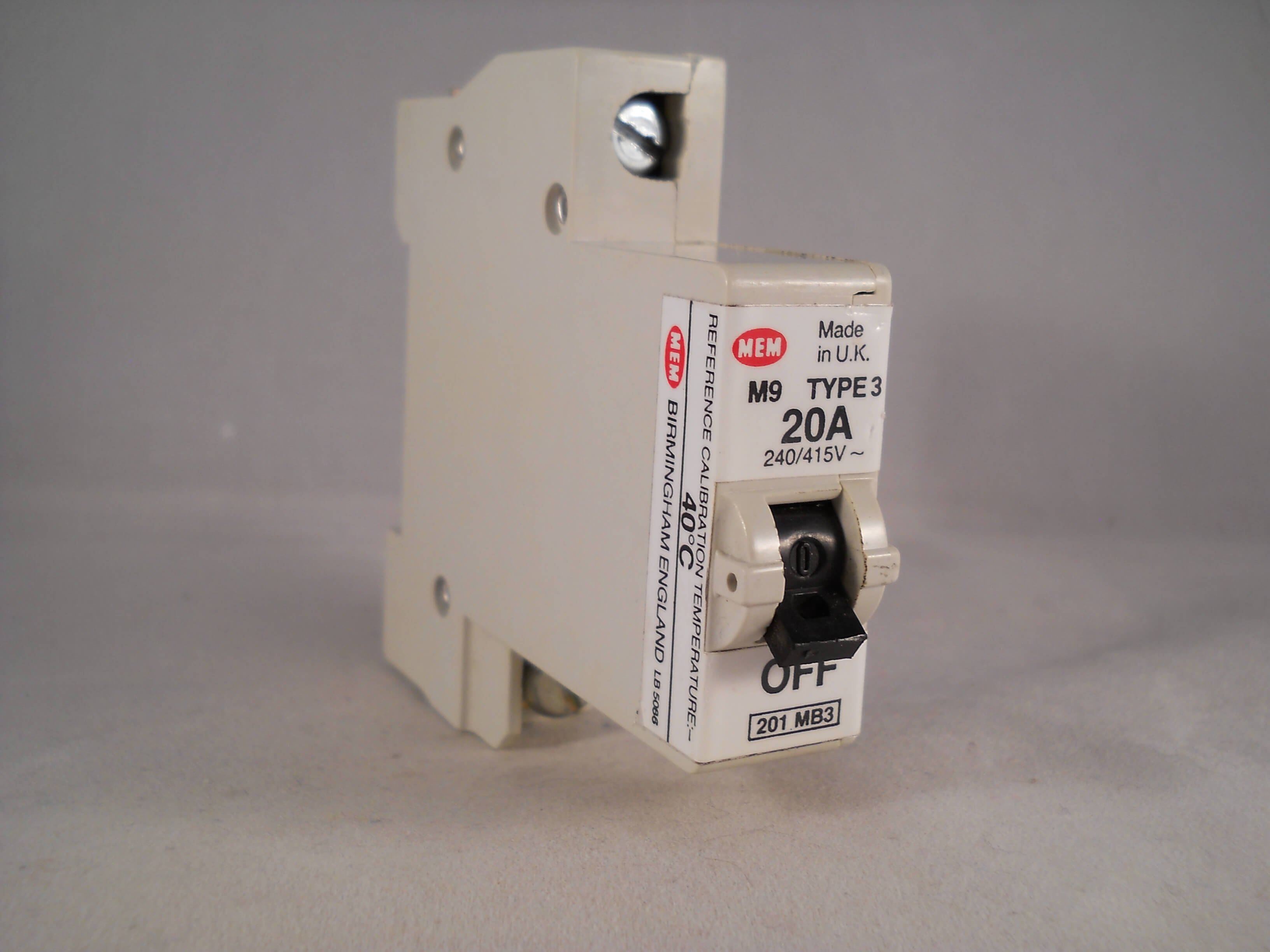 Mem Mcb Type 3 20 Amp M9 Single Pole 20a Memshield Circuit