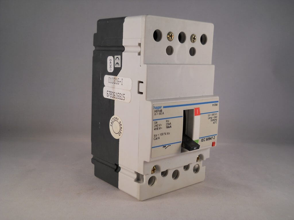 Hager Mccb 80 Amp Triple Pole 80a 3 Phase Breaker H125d