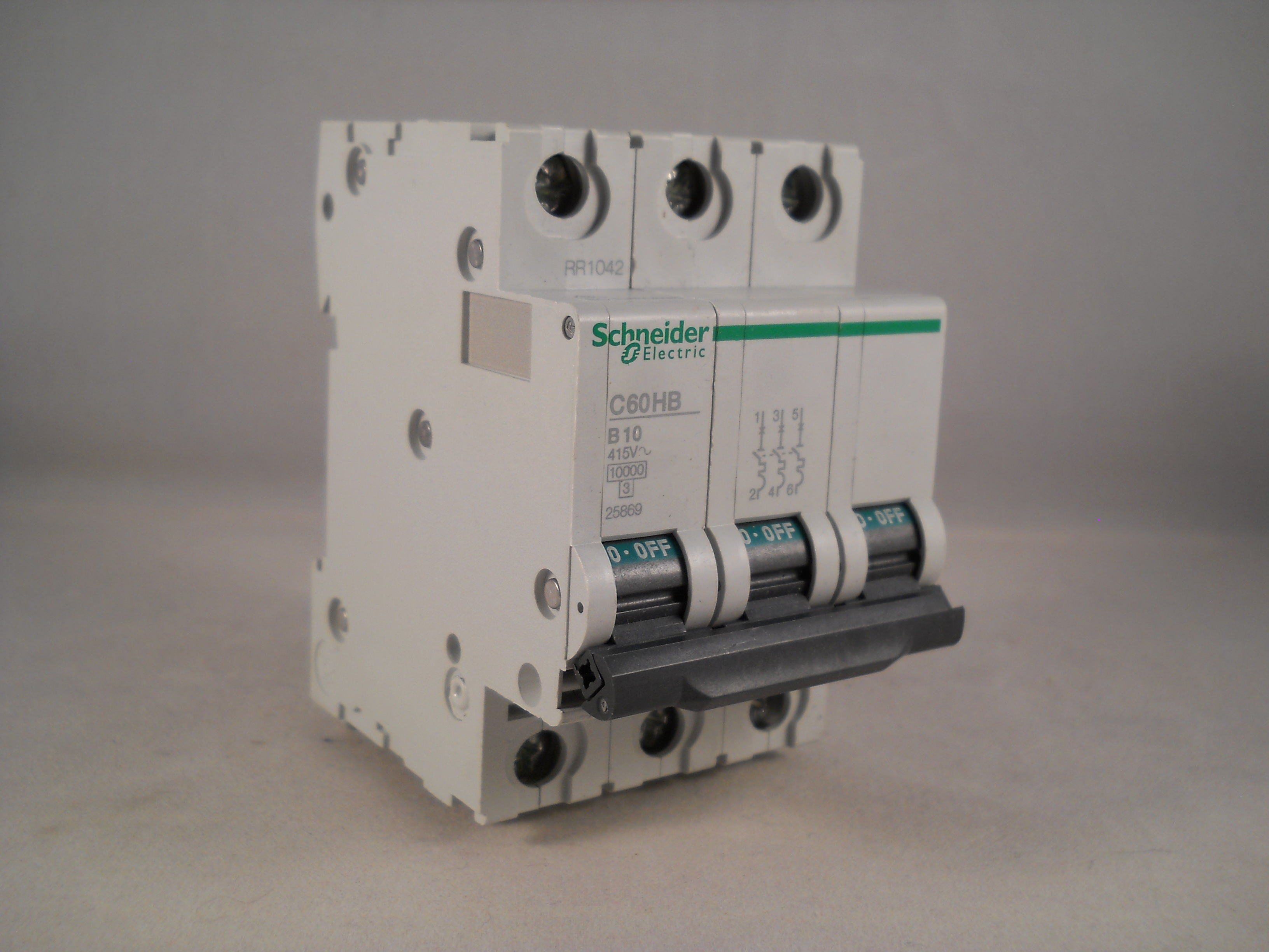 MERLIN GERIN 10 AMP TYPE B 10kA TRIPLE POLE MCB CIRCUIT BREAKER C60HB 25869
