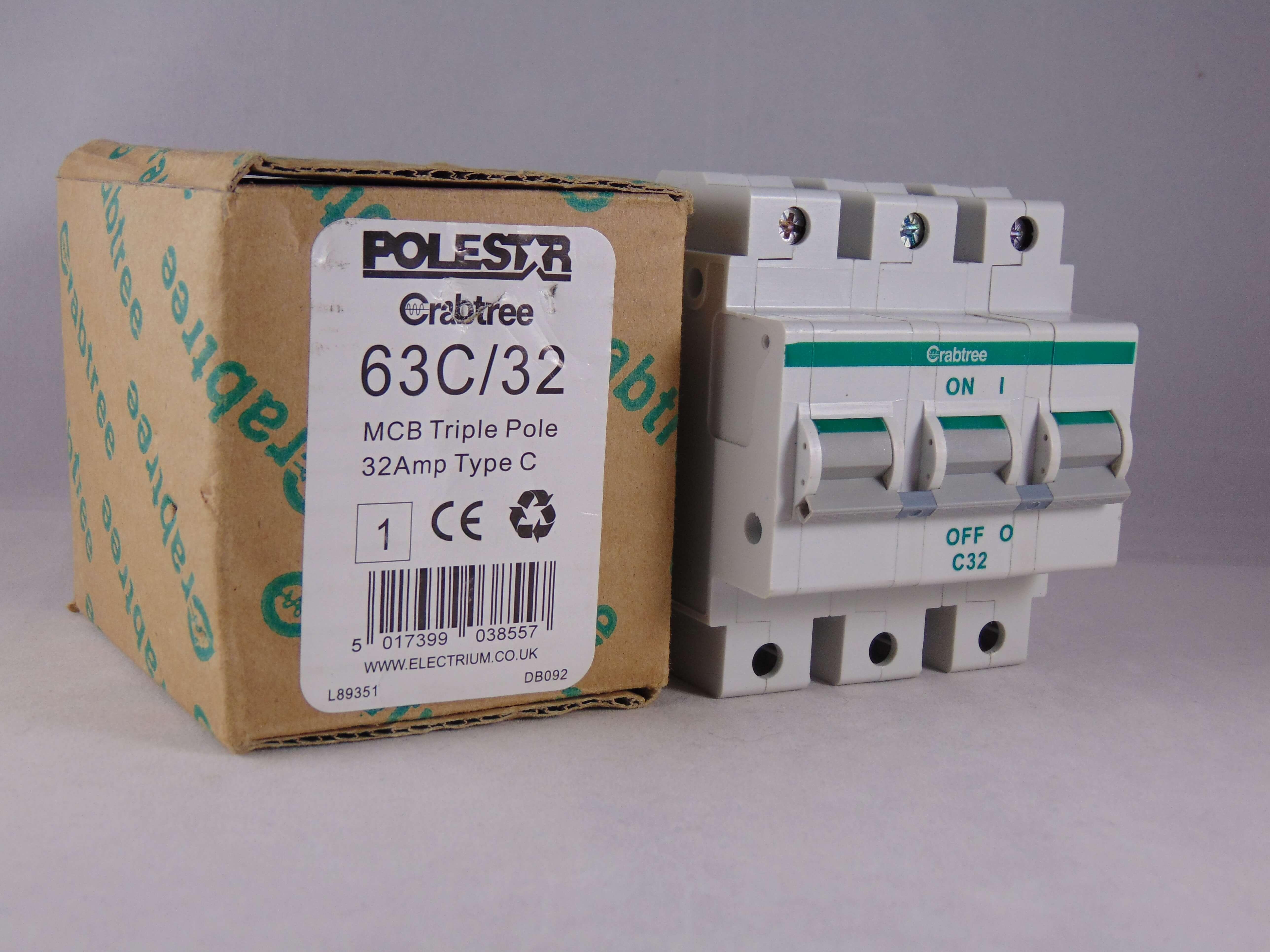 Crabtree Polestar C32 Amp Triple Pole Mcb