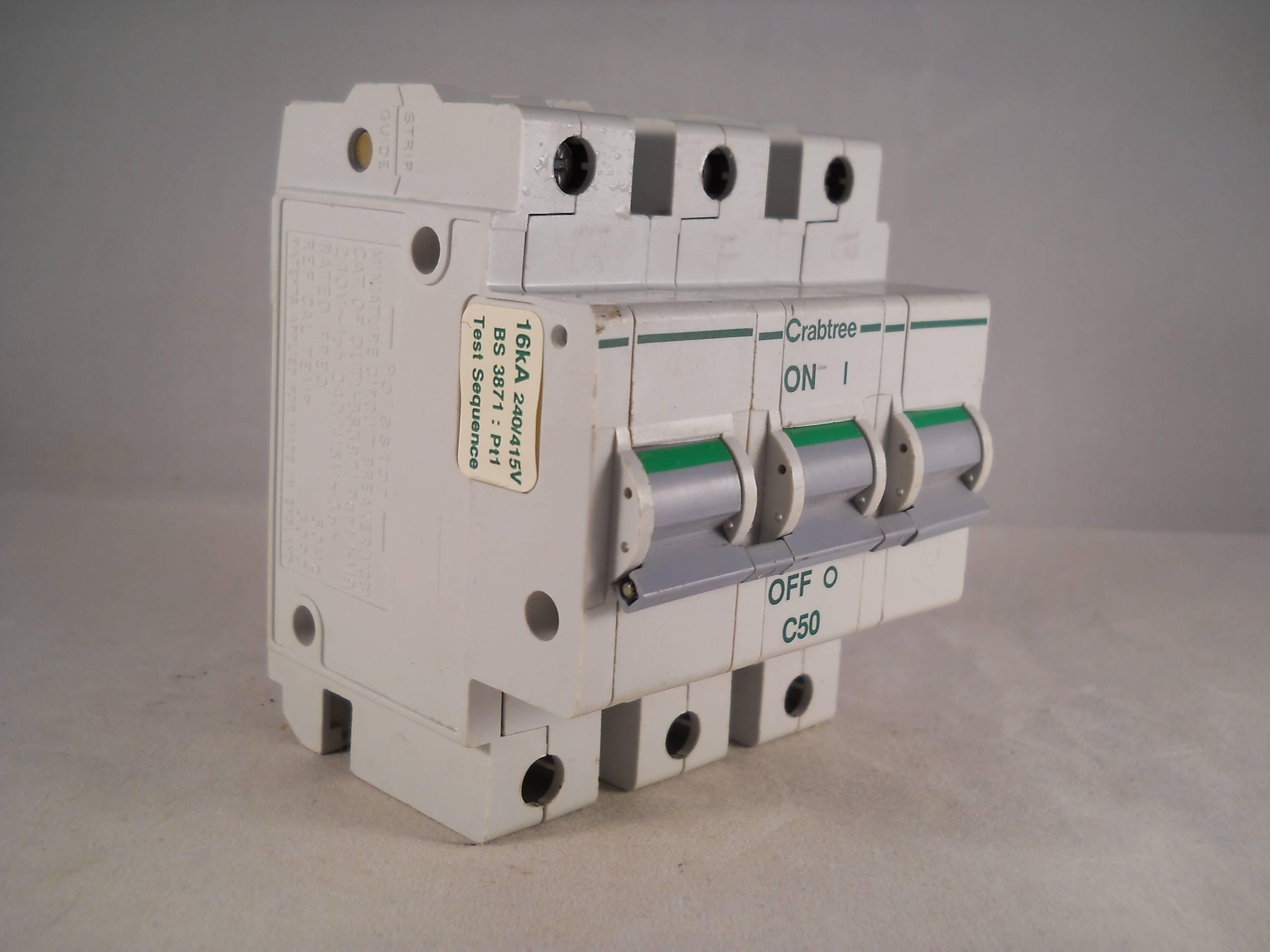 60C//50 CRABTREE POLESTAR 50 AMP TYPE C SINGLE POLE CIRCUIT BREAKER