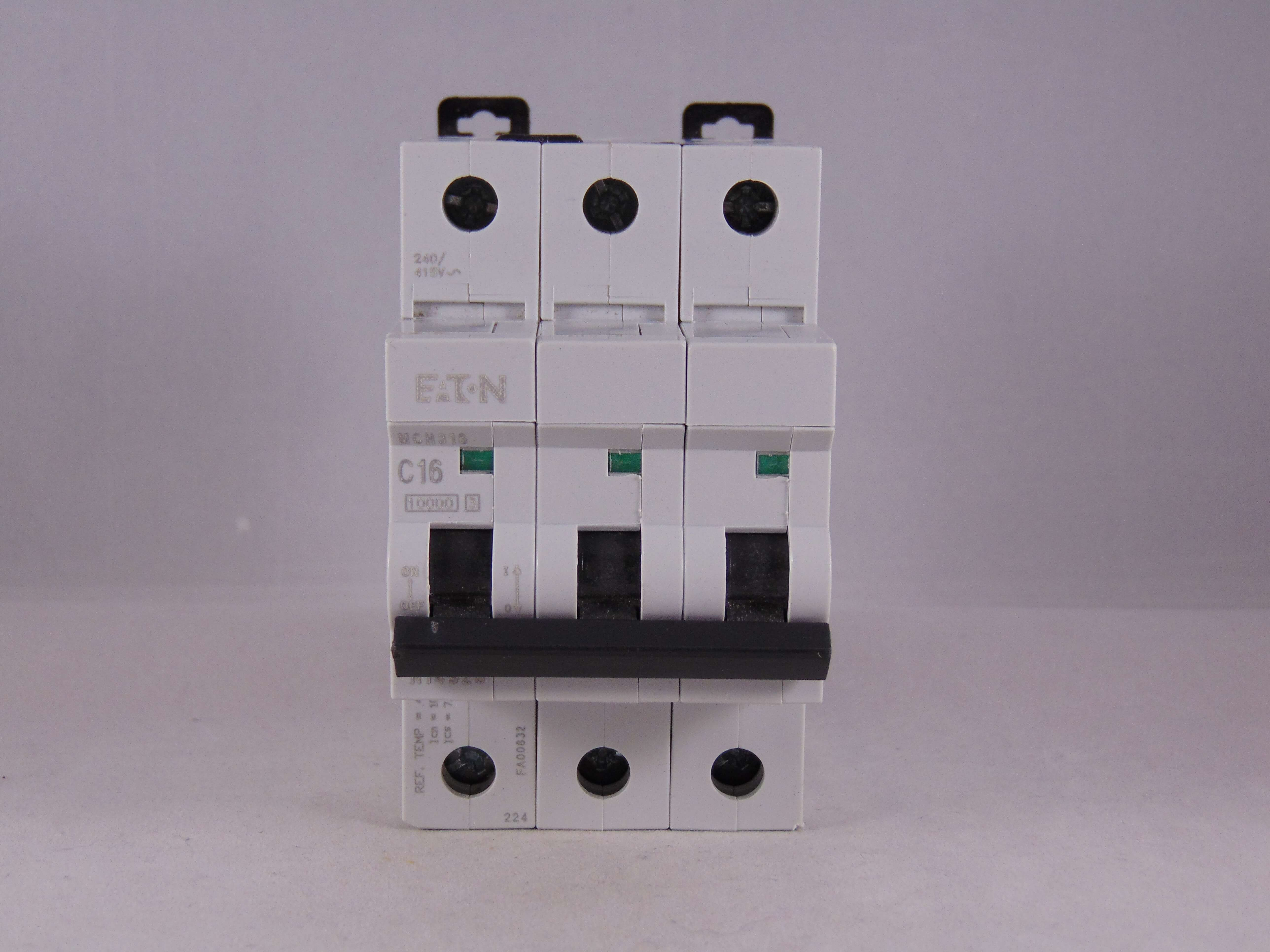 Mem Mcb 16 Amp Triple Pole 3 Phase Breaker Type C 16a C16