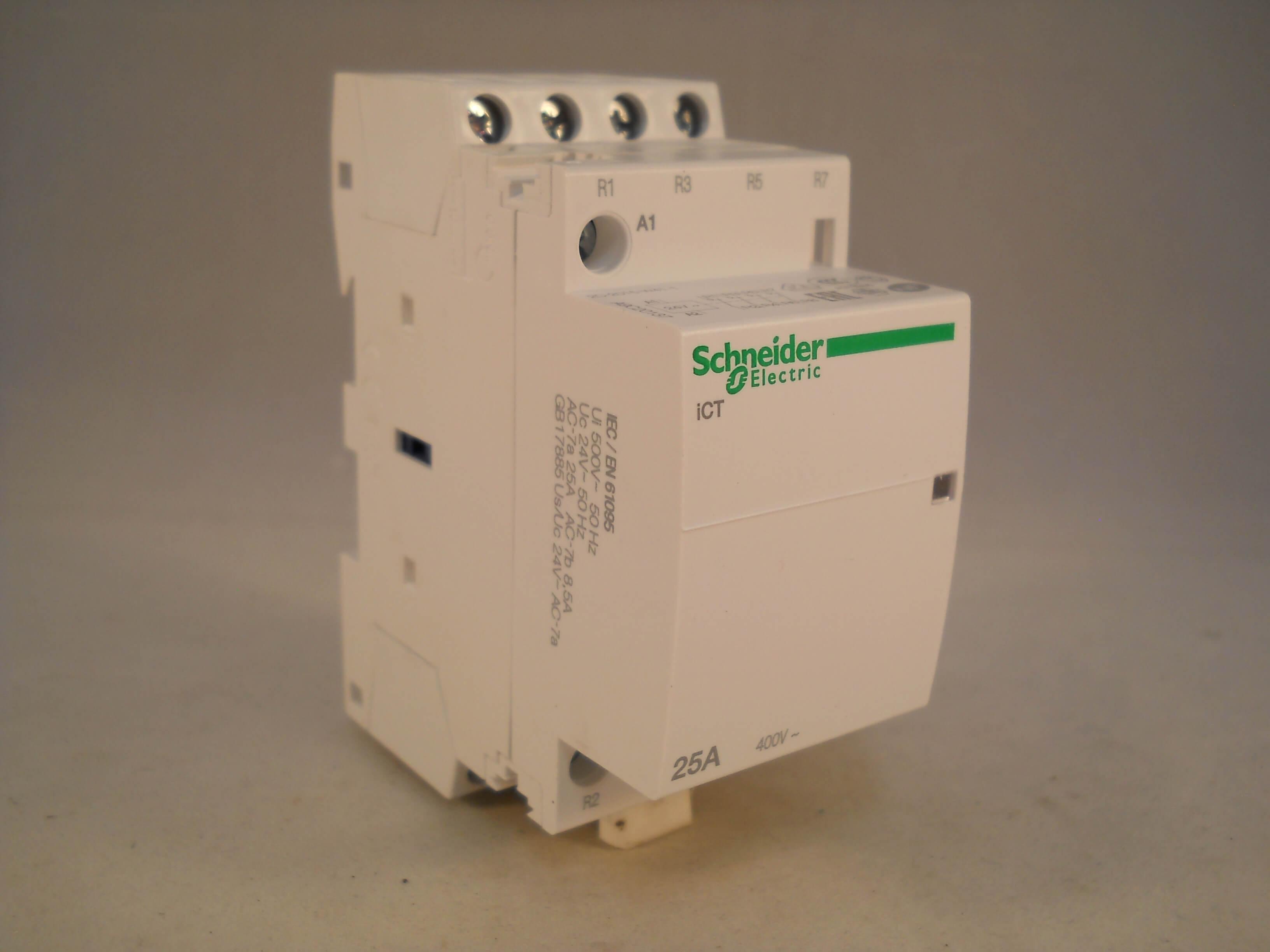 Schneider Contactor 25 Amp 4 Pole 24vac Coil N C Acti 9