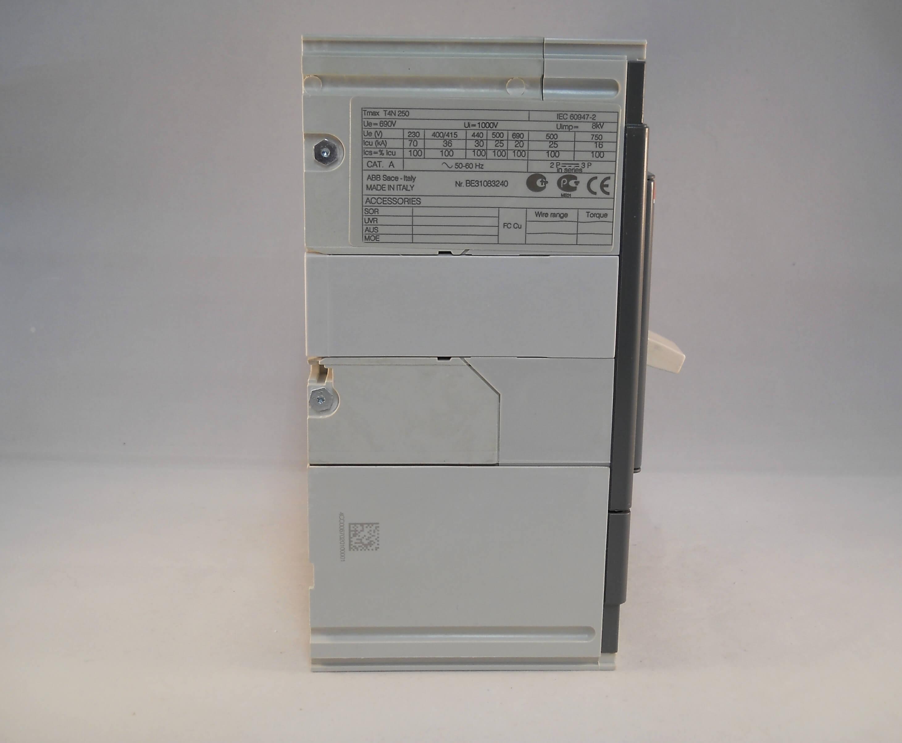 ABB MCCB 250 Amp Four Pole 250A SACE Tmax Circuit Breaker 1SDA054015R1 NEW