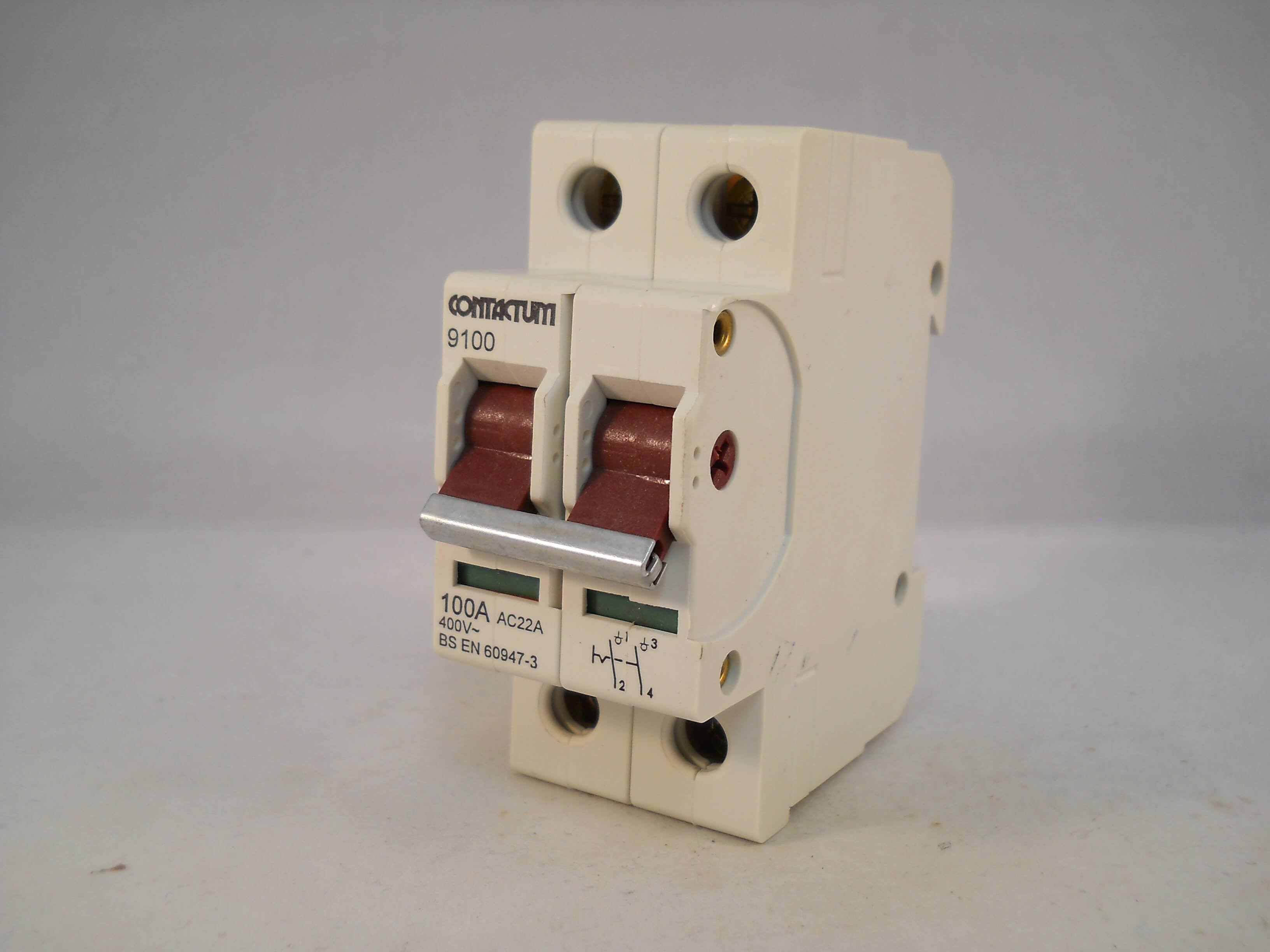 CONTACTUM 100 AMP DOUBLE POLE MAIN SWITCH DISCONNECTOR 9100