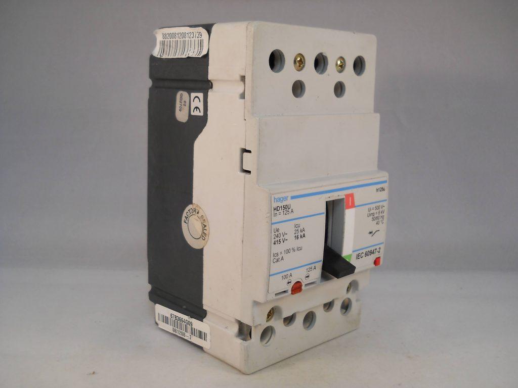 Hager Mccb 125 Amp Triple Pole 125a 3 Phase Breaker H125d