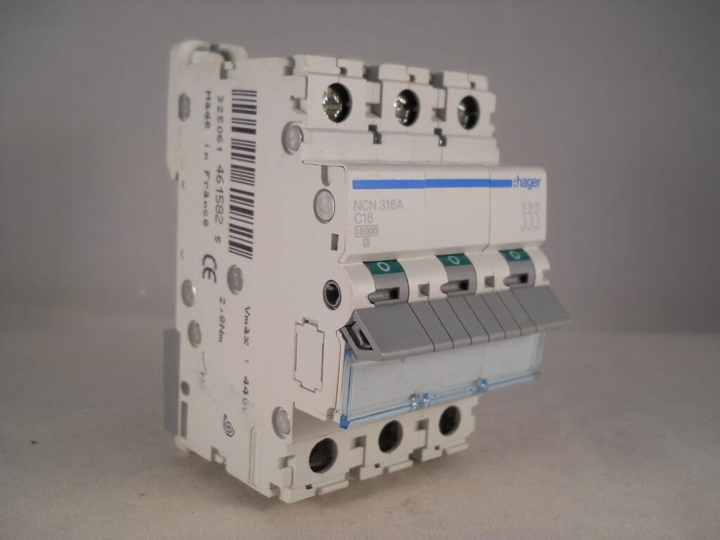 Hager Mcb 16 Amp Triple Pole 3 Phase Circuit Breaker Type