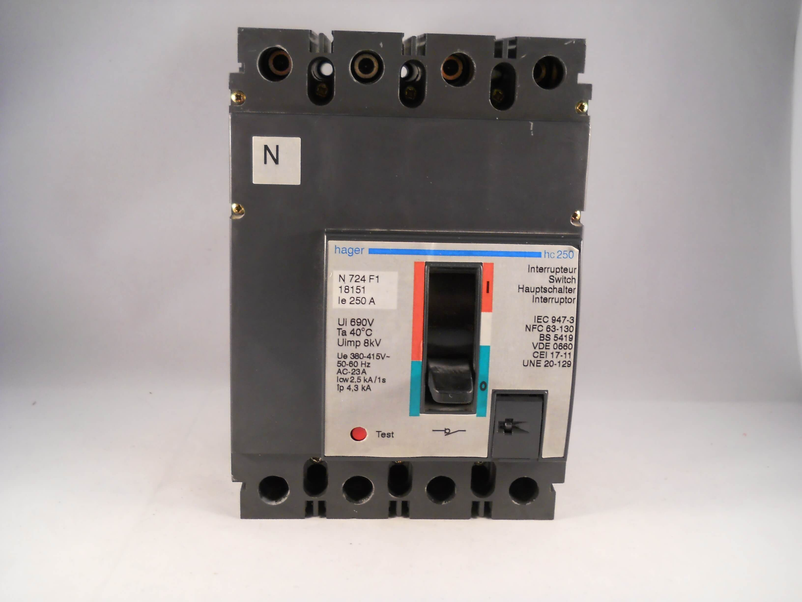 Hager 250 Amp Four Pole 250a Tp Amp N Switch Disconnector Mcs