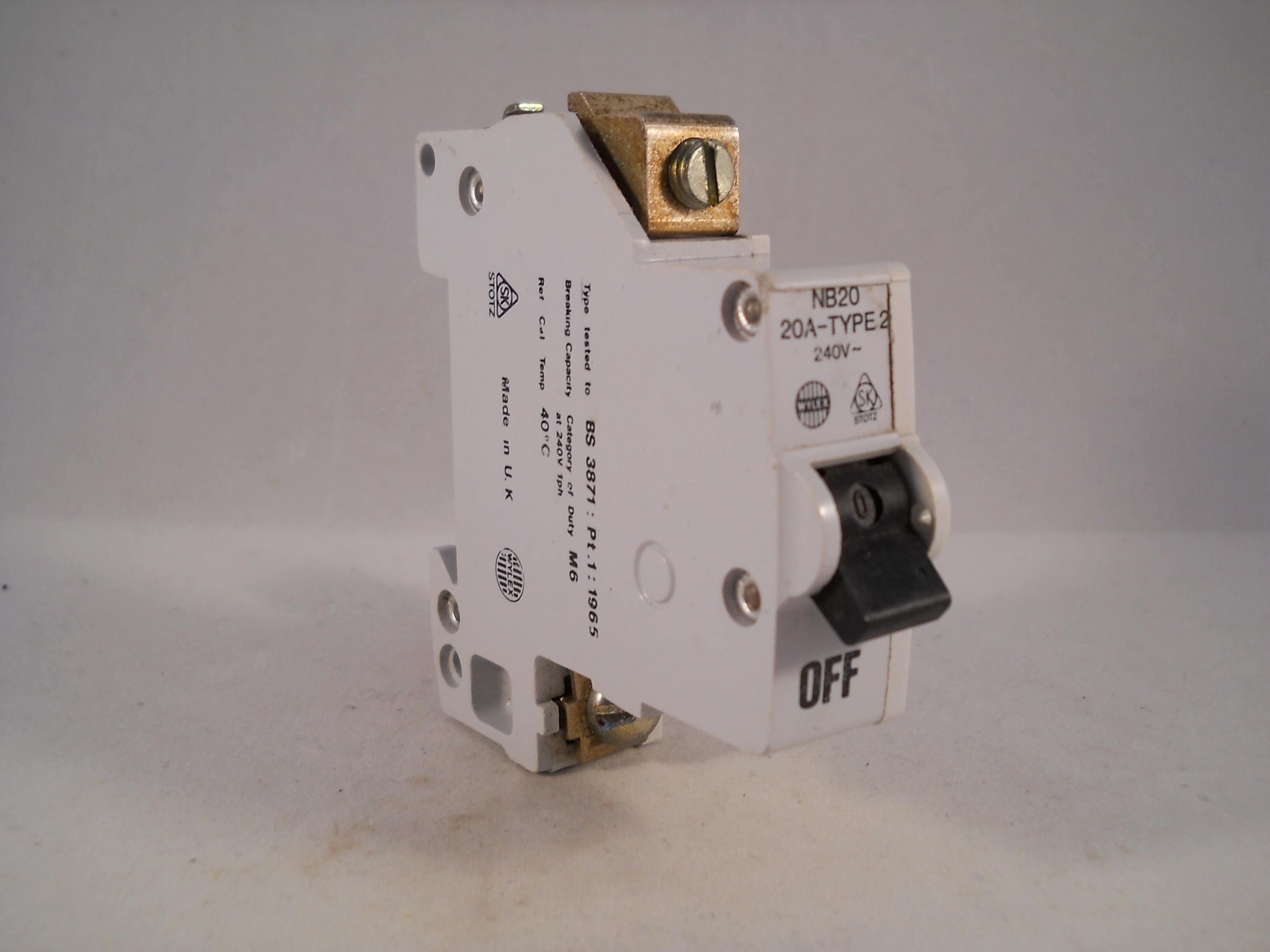 Wylex NB MCB 20 Amp M6 Type 2 Single Pole 20A Circuit Breaker Stotz ...