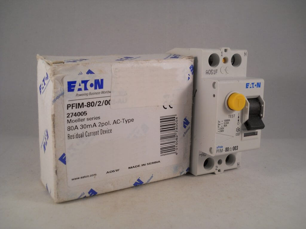 Eaton Moeller Rcd 80 Amp 30ma Double Pole 80a Rccb Trip Xpole Pfim Current Relay 2 003 New Willrose Electrical Discontinued Obsolete Circuit Breakers