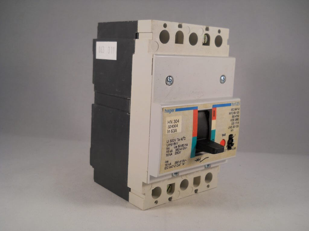 Hager Mccb 63 Amp Triple Pole 63a 3 Phase Breaker Hn125