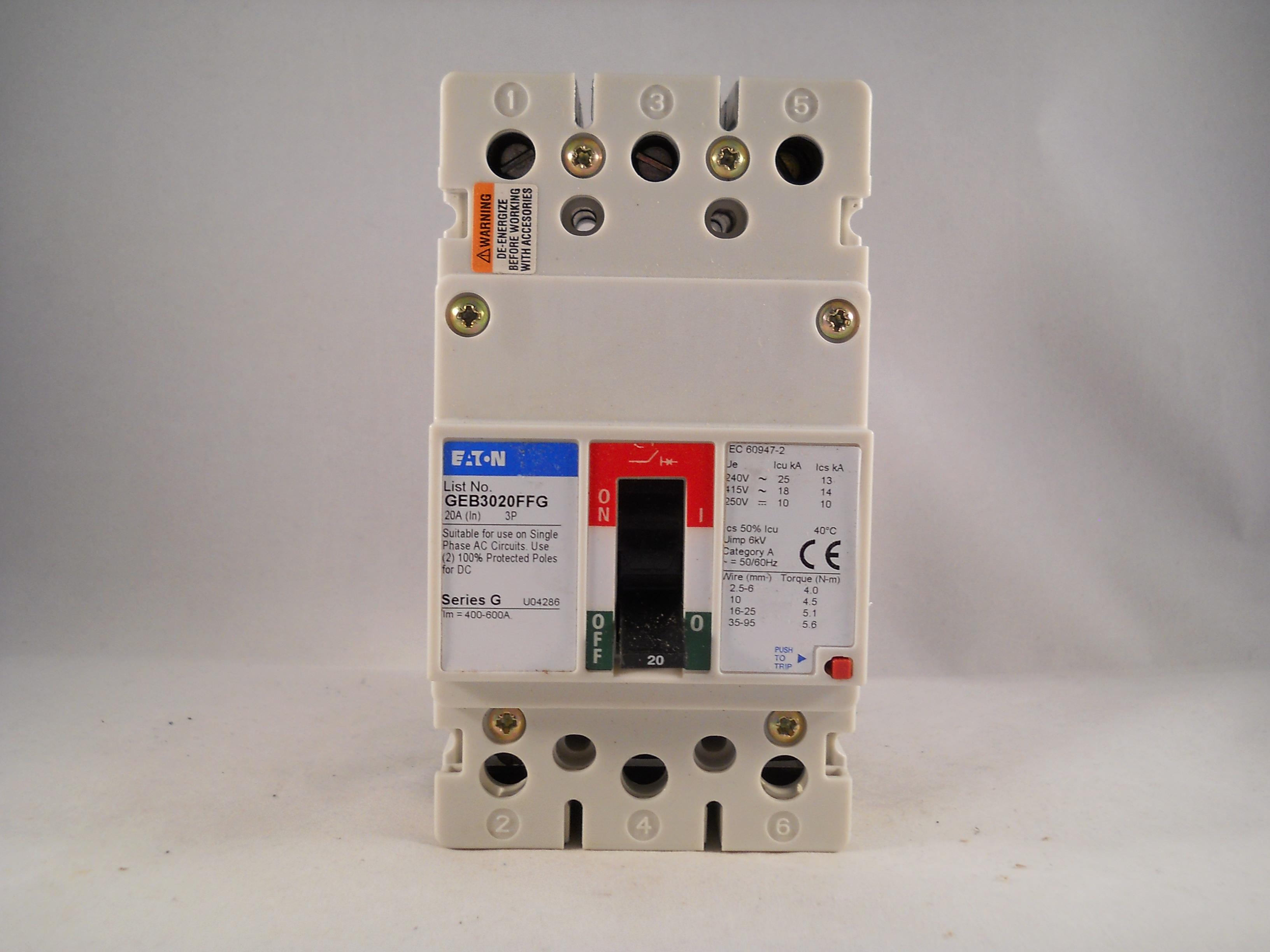 Eaton MCCB 20 Amp Triple Pole 20A 3 Phase Series G GEE3020FFG GEB3020FFG NEW