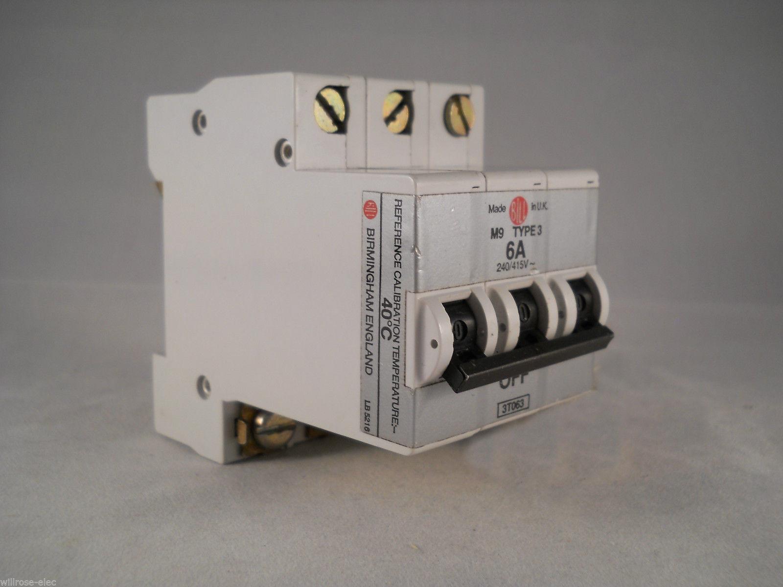 Bill MCB 6 Amp Type 3 M9 Triple Pole 3 Phase 6A Talisman MEM 63MB3 ...